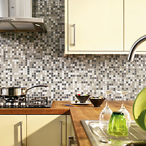 Wickes Mocha Brown Matt Glass Mosaic Tile 330x330mm