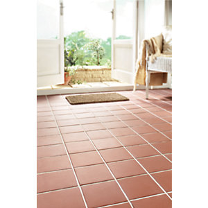 Wickes Red Textured Quarry Porcelain Floor Tile 150x150mm