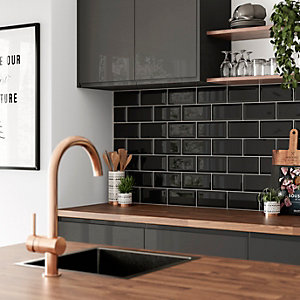 Wickes Bevelled Edge Black Gloss Ceramic Wall Tile 200x100mm