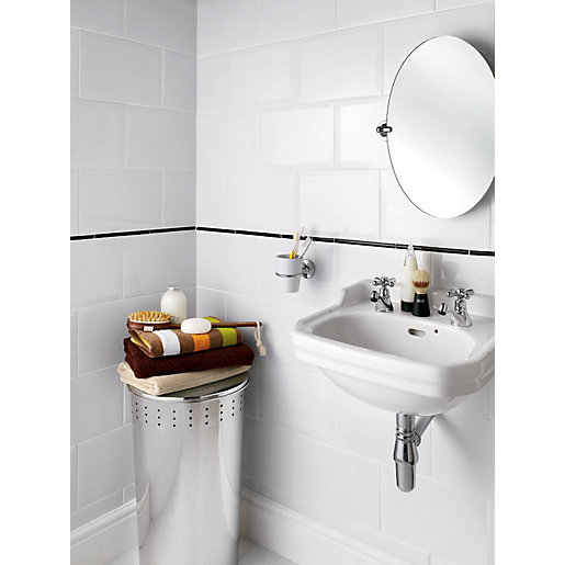 Kitchen Wall Tiles Types: Wickes Bevelled Edge White Gloss Ceramic Wall Tile 300 X 200mm