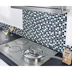Wickes Black & White Gloss Glass Mosaic Tile 300x330mm