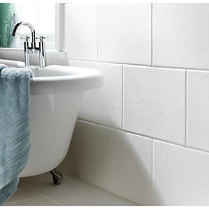 Wickes Travertino Grey Gloss Ceramic Tile 400 x 300mm