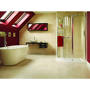 Wickes Crema Marfil Stone Effect Beige Satin Ceramic Wall & Floor Tile 400x300mm