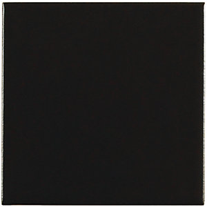 Wickes Black Satin Ceramic Wall Tile 100x100mm