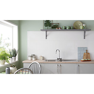Wickes White Gloss Ceramic Wall Tile 300 x 600mm