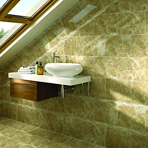 Wickes Emperador Dark Brown Gloss Ceramic Wall & Floor Tile 360x280mm