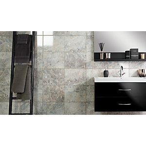 Wickes Avellino Cappuccino Grey Gloss Ceramic Wall & Floor Tile 360 x 275mm