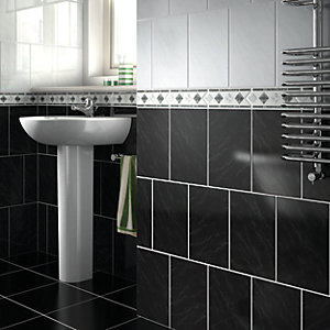 Wickes Carrara Black Gloss Ceramic Wall Tile 297x197mm