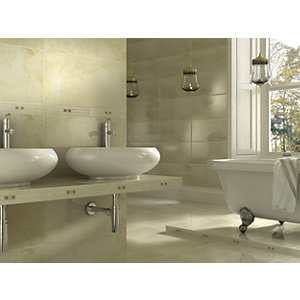 Wickes Onyx Beige Gloss Stone Effect Ceramic Wall & Floor Tile 300 x 600mm