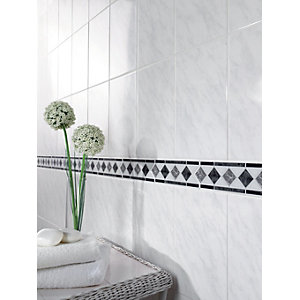 Wickes Carrara Grey & White Gloss Ceramic Wall Tile 297x197mm