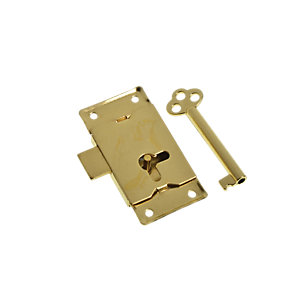 Wickes Cupboard Lock with Key Brass 63mm