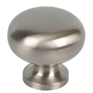 Wickes Sleek Round Knob Satin Nickel 29mm 4 Pack