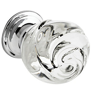 Wickes Rose Shaped Glass Knob Chrome 30mm 4 Pack