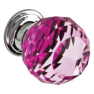Wickes Faceted Glass Knob Pink/Chrome 30mm 4 Pack