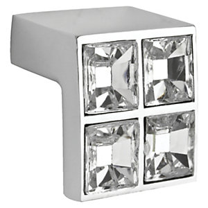Wickes Acrylic Diamond Square Knob Chrome 25mm 4 Pack