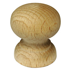 Wickes Shaped Knob Beech 33mm 4 Pack