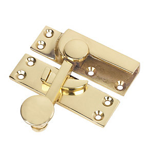 Wickes Sash Fastener Polished Brass 72 x 21 mm