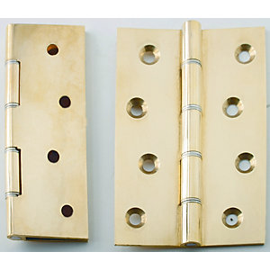 4Trade Polished Brass Double Steel Washered Hinge 100mm x 67mm Pack of 2