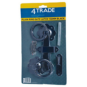4Trade Plain Ring Gate Latch Black 150mm