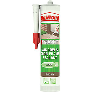 UniBond Weather-Guard Outdoor Window & Door Frame Sealant Cartridge Brown 300ml
