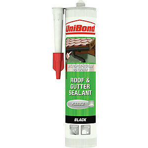 UniBond Weather-Guard Outdoor Roof & Gutter Sealant Cartridge Black 300ml