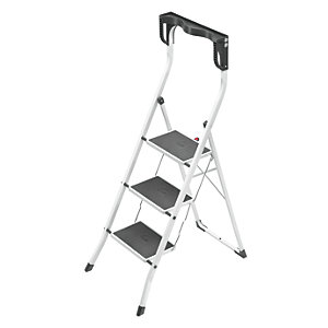 Hailo 3 tread high rail stepstool with knee rests