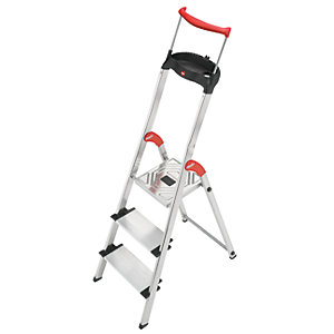 Hailo XXR 3 tread step ladder with extra wide tread and extending hand rail