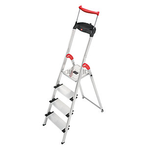 Hailo XXR 4 tread step ladder with extra wide tread and extending hand rail