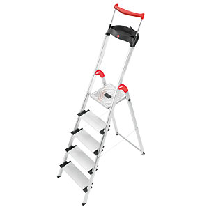 Hailo XXR 5 tread step ladder with extra wide tread and extending hand rail