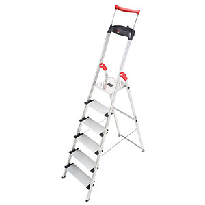 Hailo XXR 6 tread step ladder with extra wide tread and extending hand rail