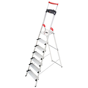 Hailo XXR 7 tread step ladder with extra wide tread and extending hand rail