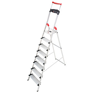 Hailo XXR 8 tread step ladder with extra wide tread and extending hand rail