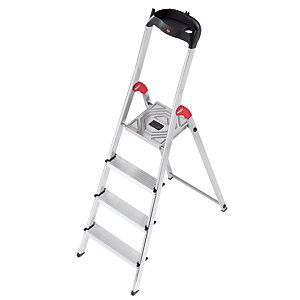 Hailo 4 treadstep ladder with handy tool tray