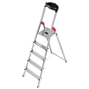 Hailo 5 tread step ladder with handy tool tray