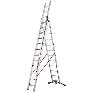 Hailo Profi-lot 3x12 Combination ladder with unique curved level bar