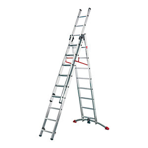Hailo Profi-lot 2x9 + 1x8 Combination ladder with unique curved level bar