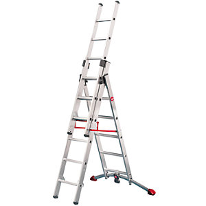 Hailo Profi-lot 2x6 + 1x5 Combination ladder with unique curved level bar