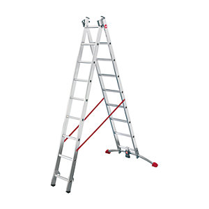 Hailo Profi-lot 2x9 combination ladder with unique level bar