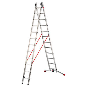 Hailo Profi-lot 2x12 combination ladder with unique level bar