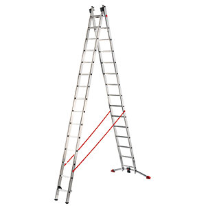 Hailo Profi-lot 2x15 combination ladder with unique level bar