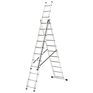 Hailo combination ladder with stabiliser bar