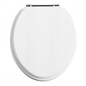 Heritage FWA101 White Ash Toilet Seat with Chrome Hinges