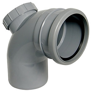 Wickes 110mm Grey Soil Pipe 90 Deg Access Bend