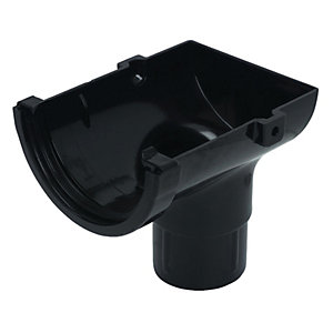 Wickes Black Minline Gutter External Outlet