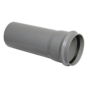 Wickes Soil Pipe Single Socket 1m Grey
