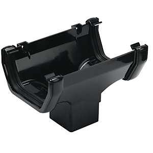 Wickes Black Squareline Gutter Running Outlet