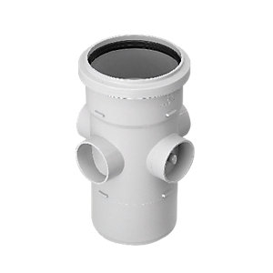 Wickes Grey 3 Socket Soil Boss Pipe