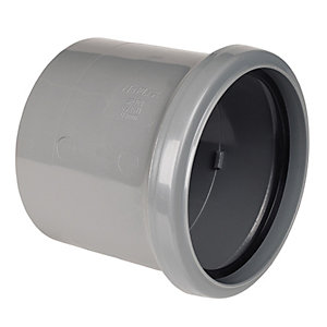 Wickes 110mm Grey Soil Pipe Single Socket Connector