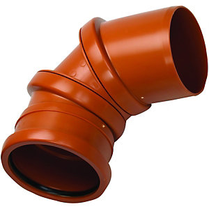 Wickes 110mm Terracotta Drain Adjustable 0 Deg to 90 Deg Single Socket Bend
