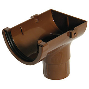 Wickes Brown Minline Gutter External Outlet
